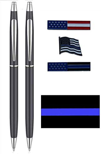 Black and Silver Police Uniform Pens with Uniform Pin Pack and Decal product image