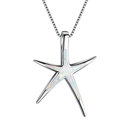 YAZILIND S925 Plata de Ley Simple Clavicle Cadena Collar Estrella de mar ópalo Colgante señoras día de la Madre Regalo joyería (Blanco)