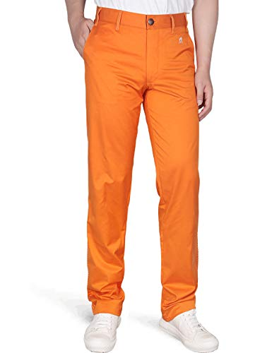 DrawingIQ Men's Stretch Golf Pant Quick Dry Vented Straight-fit Flat Front Pants Orange 34