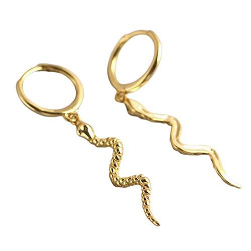 Ersuo Pendientes de Serpiente de Plata esterlina 925 Joyas de Mujer de Ley Lady Latón Chapado en Oro Pendientes Elegantes Joyería