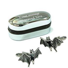 Design Flying Bat Boutons de Manchette avec étui chromé personnalisé Gravure Gratuite