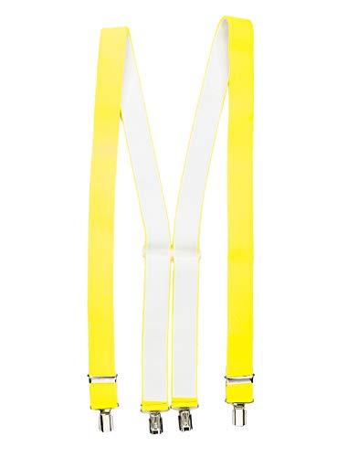 Shenky - Bretelles en X - 4 pinces résistantes - fabriquées en Allemagne - jaune fluo - taille unique