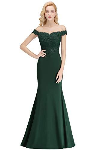 Brush Train Off Shoulder Trumpet Lace Wedding Guest Dresses for Women,Deepgreen,4