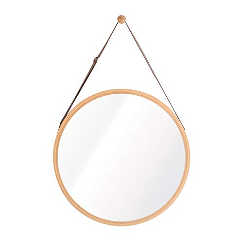 Oanzryybz Espejo de Estilo nórdico casa Pared del baño baño Ronda de Hotel Marco de bambú Maquillaje Estilo Europeo Peine Grande (Color : Primary Colors, Size : 45 * 45cm)