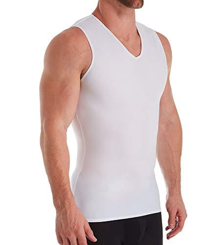 Insta Slim Mens Compression Sleeveless V Neck Muscle Shirt- Slimming Body Shaper Undershirt(Large, White)