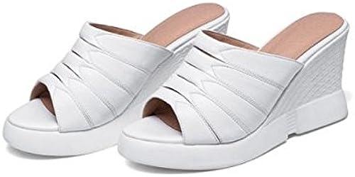 SCLOTHS été Tongs Femme Chaussures En simili simili cuir IMPERMéABLE ouvrir toe Pente haut talon occasionnels  commander en ligne