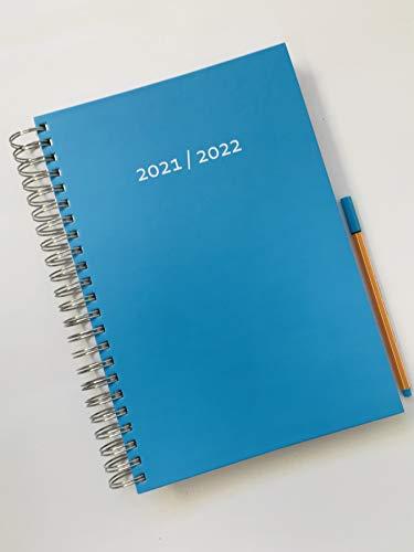Calendario grueso 2021/2022 (31.7.21 – 31.7.22) – azul caribeño (turquesa) – encuadernación en espiral – un espacio completo en DIN A4 por día – calendario diario   calendario de oficina   agenda