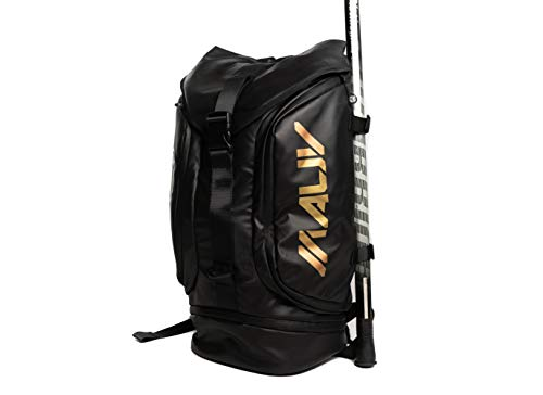Large Lacrosse Bag - Lacrosse Backpack - Holds All Lacrosse or Field Hockey Equipment with Two Stick Holders and Separate Cleats Compartment. Black