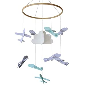Baby Crib Mobile by Baby Sanda – Airplanes and Cloud – Nursery Decor – 100% Felt – White, Gray, Light Blue and Turquoise