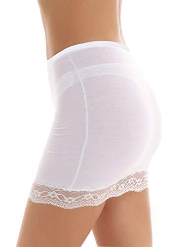 FEESHOW Femme Jupon Lingerie sous-Jupe Robe Coton Blanc Noir Court Mi-Long pour Marige Fille Blanc M