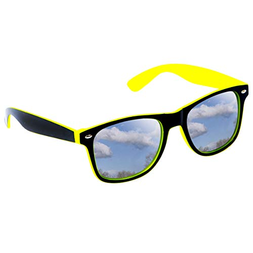 Neon Yellow and Black Frame Mirror Sunglasses with UV400 Protection
