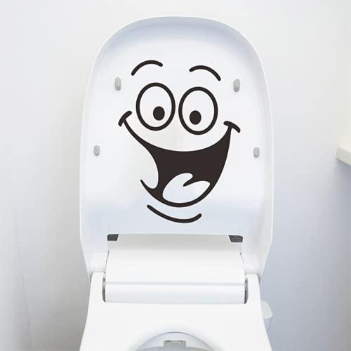 2 Stücke Wc Aufkleber, Wc Deckel Aufkleber Sticker Mit Smiley Gesicht, Pvc Wasserdicht Aufkleber Toilette Lustig Karikatur, Toilette Abnehmbare Diy Aufkleber, FüR Badezimmer, KüChe, Wandaufkleber usw