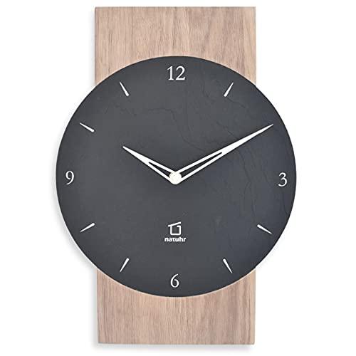 Natuhr Schesaplana - Reloj de pared de pizarra, madera de roble encalado silencioso, fabricado en Alemania (pizarra - roble encalado, mecanismo de cuarzo)