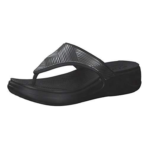 Crocs Monterey Metallic Wedge Flip, Sandalias con cua Mujer, Black, 37 EU
