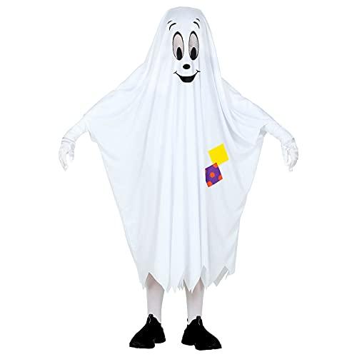 Widmann - Costume da fantasma, poncho con viso amichevole e toppe, coperta fantasma, costume, travestimento, feste a tema, carnevale, Halloween