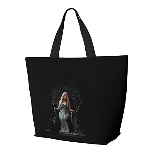 Game Thrones Multifuncional plegable y reutilizable de gran capacidad con cremallera para mujer, bolsa de hombro, bolsa de compras, bolsa de gimnasio, bolsa de viaje, bolsa de ordenador