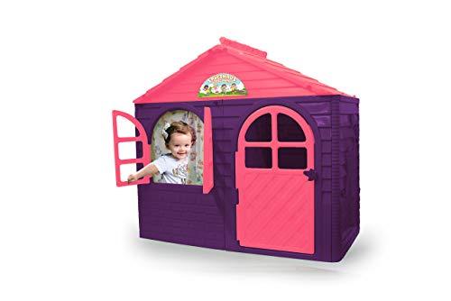 Jamara 460498 Spielhaus Little Home lila-aus robustem Kunststoff, Montage, stabiles Stecksystem, leicht zu reinigen, Indoor-Outdoor geeignet, Türe/Fenster Lassen Sich öffnen, Vorhänge