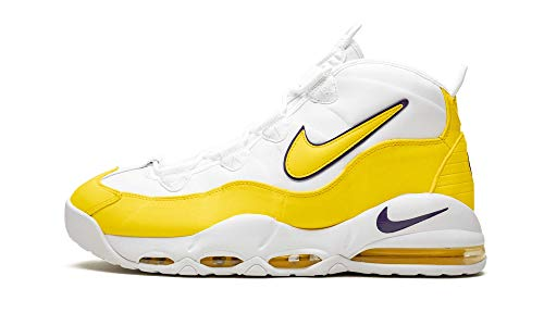 Nike Mens Air Max Uptempo 95 Basketball Shoes (10.5, White/Amarillo/Court Purple)