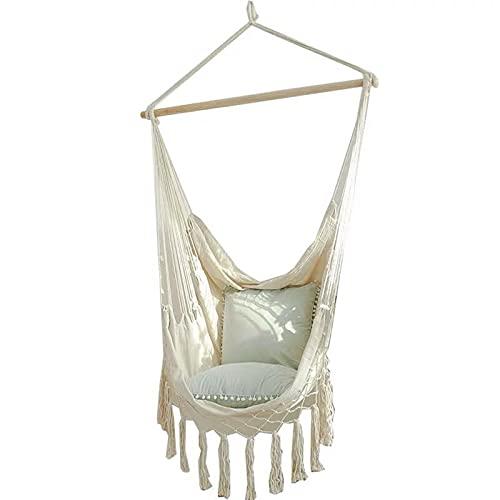 Relax Swing Silla con Almohada Colgante de Hamaca Silla de algodón para una Comodidad Superior y Durabilidad Adecuado para jardín de jardín Interior/Exterior