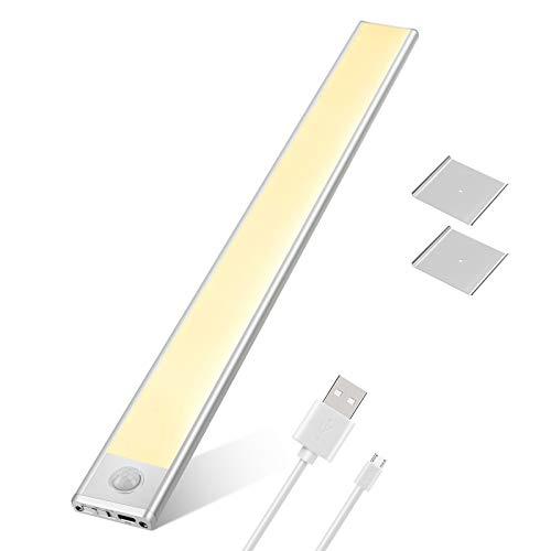 LED Schrankbeleuchtung mit Bewegungsmelder, Tasmor Schranklicht mit Magnet, 76 LEDs Schrankleuchte 3000K Warmweiß LED Leiste Batterie, USB Aufladbare Unterbauleuchte Küche für Kleiderschrank, Garage