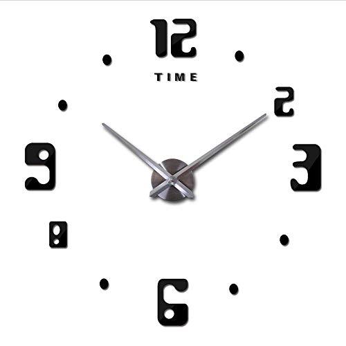 Djkaa, moderne grote klok met 3D-letters, knutselen, Arabisch digitaal tijdschrift, moderne grote klokken, spiegel, muursticker, thuis, decoratie, sticker, grote klok (47 inch)