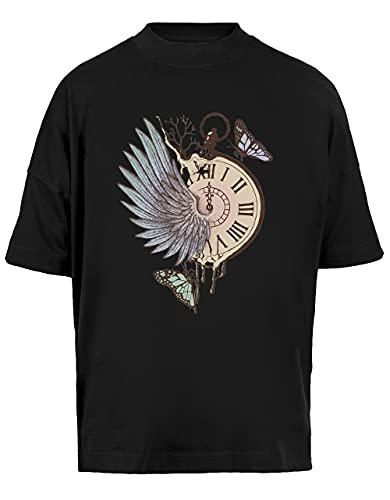 Le Temps Pasado De Moda Vite Unisex Camiseta Holgada Mangas Cortas Hombre Mujer Negra Baggy T-Shirt Short Sleeves Black
