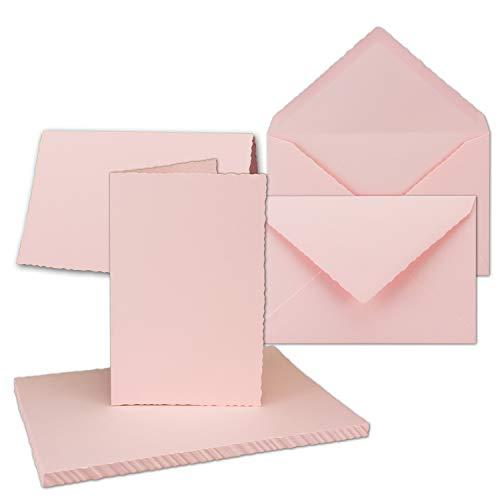 75x Vintage Faltkarten-Set mit Zackenschnitt - Rosa Doppel-Karten mit Brief-Umschläge - DIN B6-11,0 x 17,3 cm - imitierter Büttenrand gestanzt - by GUSTAV NEUSER®