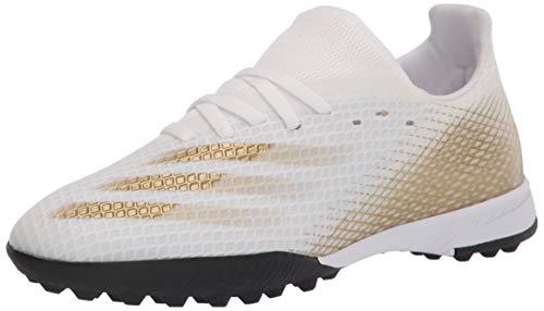 adidas X Ghosted.3 Turf - Zapatillas de fútbol para niños, (Blanco/Dorado Melange/Negro), 32 EU