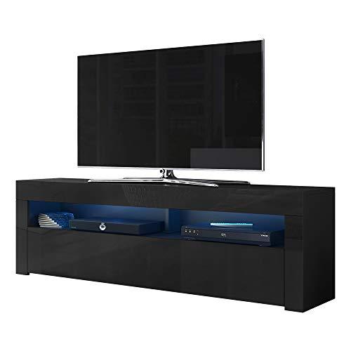 Alan - Mobile per TV, 160 cm, colore: Nero opaco/Nero lucido/LED blu