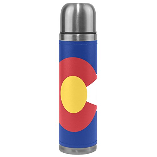 Colorado State Flag 17 oz Double Walled Vacuum Insulated Stainless Steel Water Bottle Vacuum Flask Travel Mug Thermal Coffee Cup
