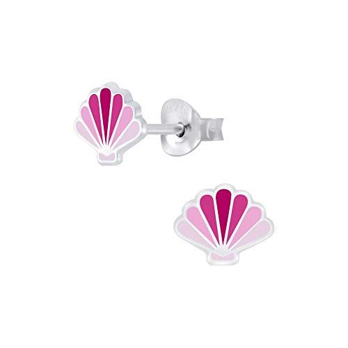 Laimons - Orecchini da bambina a forma di conchiglia, in argento Sterling 925, colore: rosa