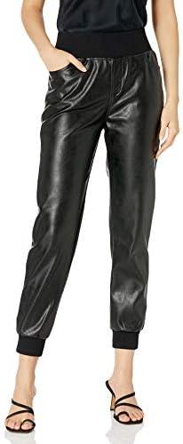 KENDALL KYLIE Women s Vegan Leather Jogger Black Medium product image