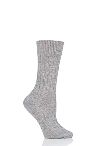 SockShop of London Womens 100% Cashmere Cable Knit Bed Socks Pack of 1 (Light Grey, 4-8)