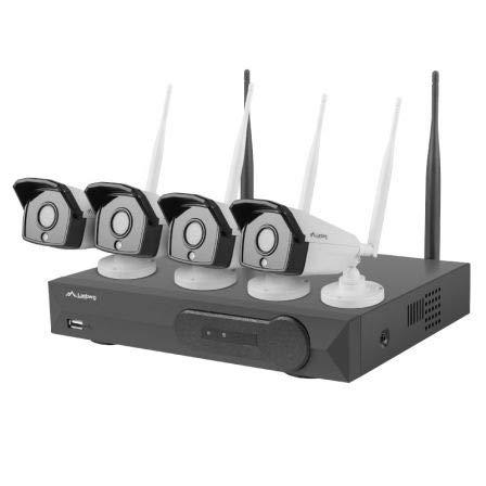 LANBERG Kit WiFi NVR ICS-0404-0013 4*CAMARAS 1.3 MP RJ45/WIFI Infrarrojos Grabador 4 Canales con Capacidad para HDD 6 TB HDMI/VGA