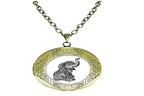 Collar con medallón de cristal con diseño de elefante, para hombre y mujer
