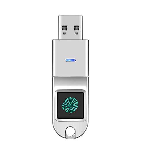 Y&SJ Fingerprint USB Flash Drive, High-Grade Metal Encryption USB3.0 U Disk Fingerprint U Disk Large Capacity - for Smart TV/Laptop/Computer,Silver,128G