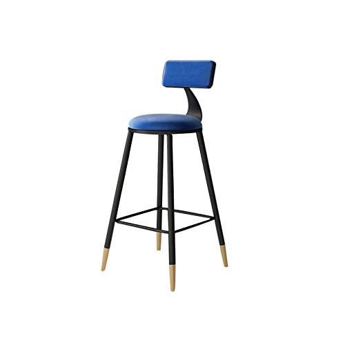 HUAJING Asiento de Taburete de Bar, Silla Alta Simple con Respaldo, Dos Alturas de 65 cm y 75 cm Disponibles, para Pub, Cocina, mostrador: Azul, Rosa, Gris (Color : Blue 65cm)