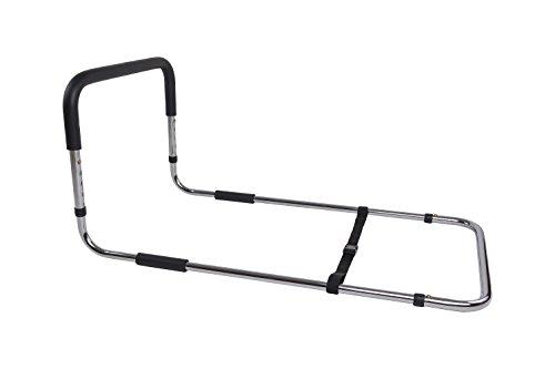 Bettgriff und Aufstehhilfe geeignet für Betten mit Lattenrost und Rahmen, Betten mit Rückenverstellung, schwarz/silber