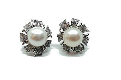 Pendientes de plata 925 flor con circonitas y perla auténtica, cierre omega (AMFO0257)