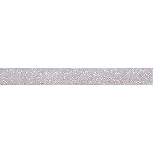 YYCRAFT 5 Yards Glitter 5/8' Elastic Ribbon for Hair Ties Headbands (Lt.Silver)