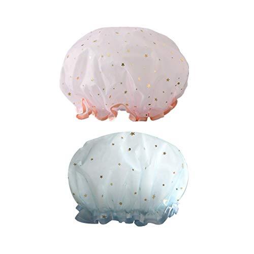 Cuffia da doccia Star rete di filati, 2 pezzi cuffie da doccia impermeabili riutilizzabili, grandi Showe Caps elastiche a doppio strato, speciali per saloni spa da doccia per donna