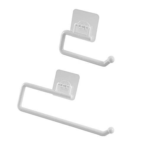 Portarrollos de papel de cocina debajo del armario, 2 portarrollos de papel, papel de aluminio, separador de film plástico (dos tamaños). (Blanco)