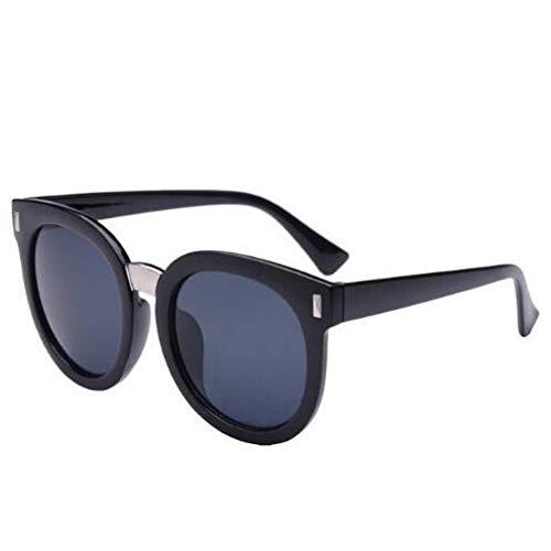 CHENG/ CHENG Sonnebrille Frauen Männer Sonnenbrille Schützen Helle Schwarze Reflektierende Film-Sonnenbrille Runde Sonnenbrille
