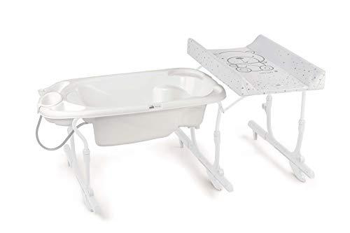 CAM IDRO BABY - Combinación de baño y pañales para bebé | Bañera práctica y segura | Diseño fabricado en Italia | Combinación de cambiador con bañera para bebé (ositos blancos)