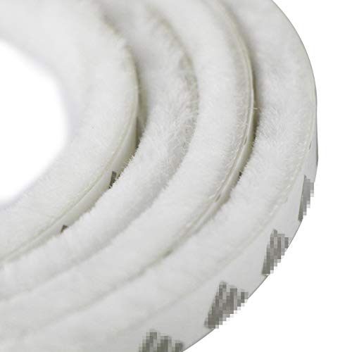 aufodara 5m winddicht Staubdicht Tür Fenster Dichtungsband selbstklebend Bürstenleiste 9 x 23 mm - für Lücken 9-20 mm (5 Meter, Weiß)