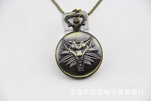 Reloj de bolsillo grande Witcher 3 cabeza de lobo tótem collar de reloj de bolsillo con colgante de anime