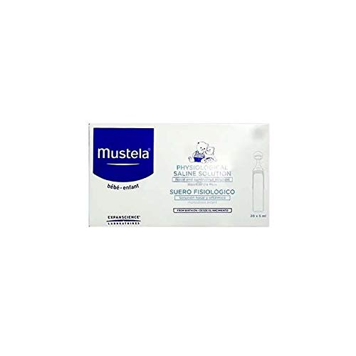 MUSTELA Suero fisiológico (Producto Sanitario) Caja monodosis, Negro, 20 x 5ml