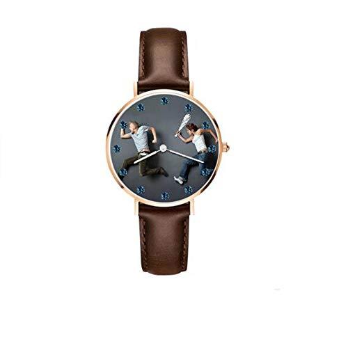 Beiläufige Birthstone Uhr Foto-Text-Uhr-Männer Einfache lederne Band-Uhr-Männer