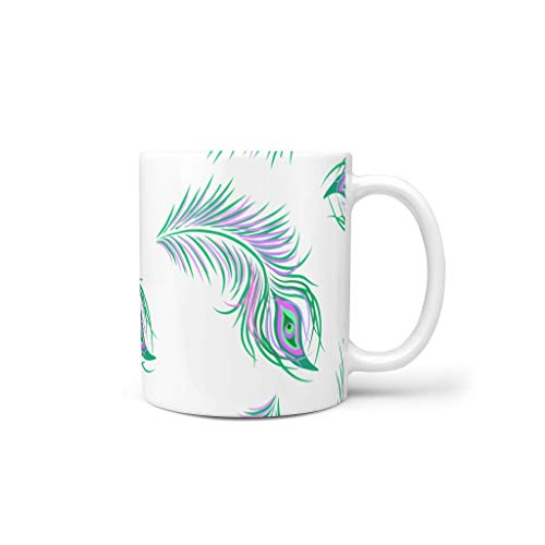 O5KFD & 8 11 OZ groene pauwenveer water koffie mok met handvat glad keramiek fun mok - meisjes, familie gebruiken