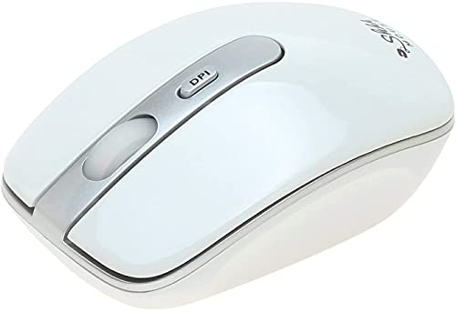 ShhhMouse Wireless Ergonomic Mouse for Laptop & Computer with USB, Silent Cordless Mice with 3 Adjustable DPI Levels for Chromebook (White)